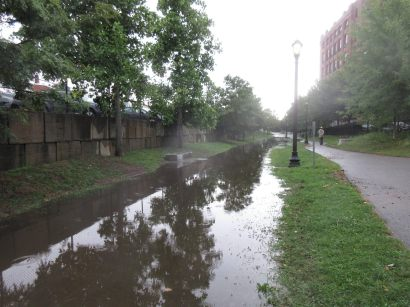 Flooding after rains on the Greenway due to blocked drainage - Aug 2017