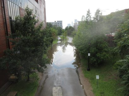 Flooding after rains on the Greenway due to blocked drainage. Aug 2017